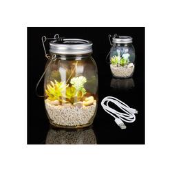 relaxdays Gartenleuchte 2 x Solarlampe Glas mit USB