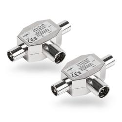 HEITECH TV Antennen Verteiler aus Metall 75 Ohm - 2er Pack Antennenverteiler für Koaxialkabel mit 2x Koax Stecker & 1x Koaxial Buchse SAT-Kabel