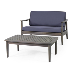 2pc Willowbrook Patio Acacia Wood Loveseat Set with Coffee Table - Gray/Dark Gray - Christopher Knight Home