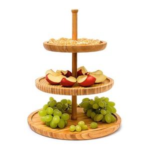 Monsterzeug Etagere 3 stöckig Holz, Bambus Snackplatte Obst, Servierständer 3 Schalen, Obstteller Servierplatte, Lebensmittelecht, Buffet Dekoration, Party