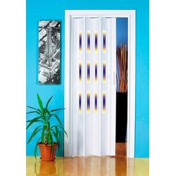 Falttür Dekor 1 Halbrund, BxH: 88,5x202 cm, mit dekorativem Motiv im Fenster weiß