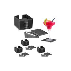 relaxdays Getränkeuntersetzer 32 x Schiefer Untersetzer mit Box