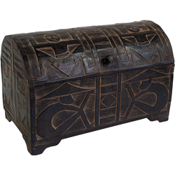 Guru-Shop Truhenbank Halbrunde beschnitzte Balsaholz Truhe in 3 Größen 35 cm x 22 cm x 15 cm