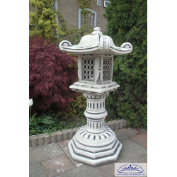 BAD-2121A Steinlaterne Stupa Japanlaterne als Gartendekoration für japanischen Garten als Wegleuchte 95cm 109kg (Farbe: ocker)