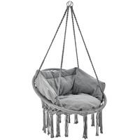 Juskys Hängesessel Cadras mit Kissen im Rücken und Sitzpolster – Indoor Hängekorb 120 kg Belastbarkeit für Kinder & Erwachsene Einfache Aufhängung