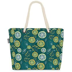 VOID Strandtasche (1-tlg), Zitronenblätter Früchte Beach Bag Lemon Lime Zitrone Limette Vitamine Saft