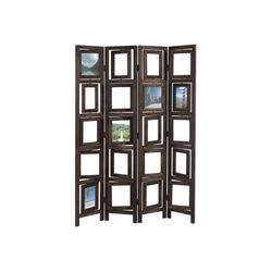 MCW Paravent Bildgalerie II, Fenster mit je zwei Plexiglasplatten, 4 Paneele, Mit drehbaren Fotofenstern braun