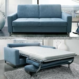 Schlafsofa Funktionssofa Sofa Sofabett All Flex Stoff Hellblau Matratze 190 Cm