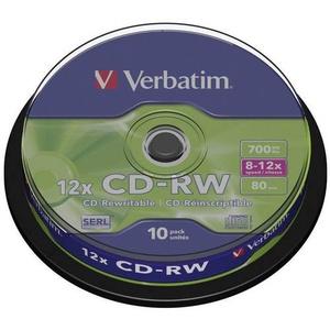 Verbatim 43480 CD-RW Rohling 700 MB 10 St. Spindel Wiederbeschreibbar