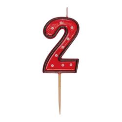 Zahlenkerze, Geburtstagskerze `2` rot, ca. 85 mm