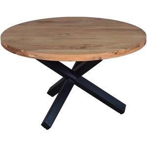 SAM Runder Esszimmertisch 130 cm Runa, Akazienholz massiv, Esstisch naturfarben, Sternfuß aus Metall Schwarz, aufgedoppelte Tischplatte 50 mm
