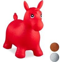 Relaxdays 10024991_47, rot Hüpftier Pferd, inklusive Luftpumpe, Hüpfpferd bis 50 kg, Hüpfpony BPA frei, für Kinder, Hüpfspielzeug
