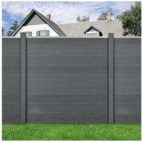 [neu holz] neu.holz Gartenzaun mit Pfosten Sichtschutz 183x357cm Grau grau 3,57 m x 183 cm