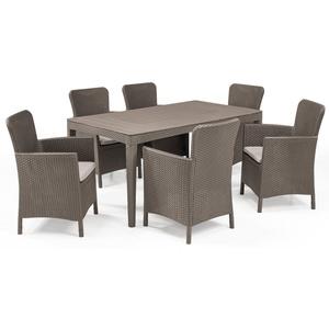Allibert Gartenmöbelset Girona Dining Set, (Dining Set, 7-tlg., inkl. Polsterauflagen), 6x Sühle, 1x Tisch natur