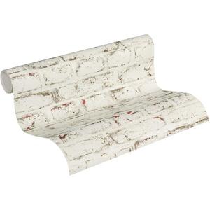 Thomas Vliestapete in Vintage Backstein Optik Tapete Industrial Loft Style 10,05 m x 0,53 m weiß rostrot graubraun Made in Germany TLT021
