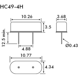 EuroQuartz Quarzkristall QUARZ HC49/US HC49/4H 8.000MHz 18pF (L x B x H) 3.68 x 10.26 x 3.5mm