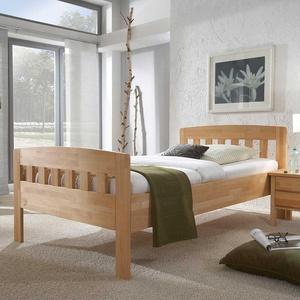 Einzelbett aus Kernbuche Massivholz mit Komforthöhe