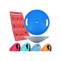 MSports® Stabilisations-Therapiegerät MSPORTS Balance Board Premium 40 cm Durchmesser inkl. Übungsposter und Work Out App GRATIS - Therapiekreisel Physiotherapie Wackelbrett blau
