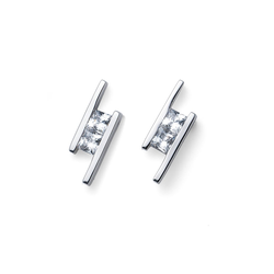 Ohrstecker Foursquare 925AG CZ Oliver Weber weiss