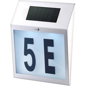 Solar-LED-Hausnummernleuchte mit Edelstahl-Gehäuse und Licht-Sensor
