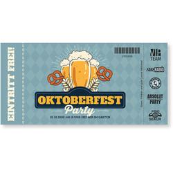 Einladungskarten Oktoberfest (10 Karten) selbst gestalten, Oktoberfest Ticket - Türkis