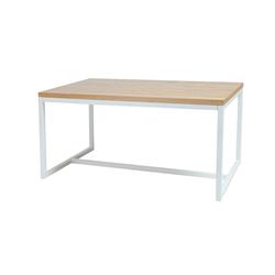 Stół Pazmer 150x90 cm z litego drewna z białą podstawą z poziomym wzmocnieniem