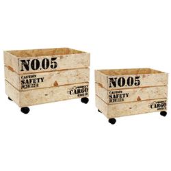 2er Set Rollkisten CARGO aus OSB Holz - Dekokiste Rollkiste Blumenkiste Kiste