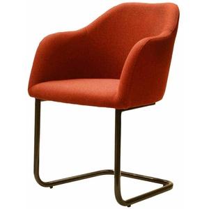 Armlehnen Schwingstuhl in Rot Schwarz Stoff