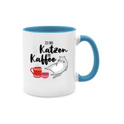 Shirtracer Tasse Ich mag Katzen und Kaffee - Tasse mit Spruch - Tasse zweifarbig - Tassen, katzen tasse