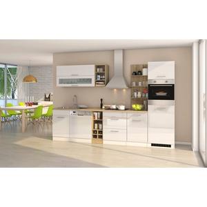 Küche mit Elektrogeräten Küchenblock mit E-Geräten Einbauküche hochglanz weiss
