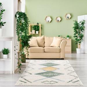 Teppich Wohnzimmer - Hochflor Shaggy - Cream Grün Gelb Muster - Boho Design