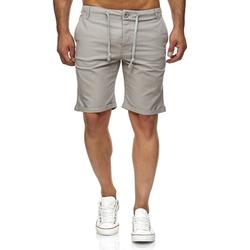Reslad Leinenhose Reslad Leinenhose Kurze Hose Herren Leinen-Shorts kurze Männer Strandhose im Leinen-Look grau XL