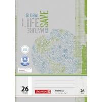 Brunnen Schulheft Recycling A4 16 Blatt, kariert Lineatur 26, mehrfarbig,