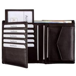 Kombibörse mit Geheimfach 10,5x12,5cm Leder schwarz
