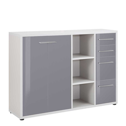 Office Sideboard in Grau Glas beschichtet