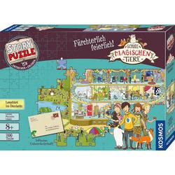 Kosmos Puzzle Story Puzzle: Die Schule der magischen Tiere, Fürchterlich Feierlich, 200 Puzzleteile, mit Leuchteffekt; Made in Germany