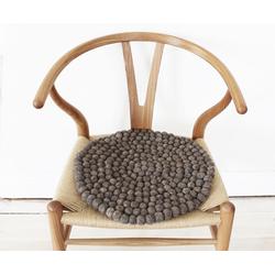 Wooldot Sitzkissen Uni Color, rund, Filzkugel-Teppich, reine Wolle, auch als Set bestellbar braun