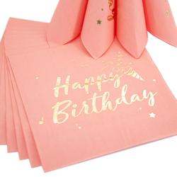 20 Happy Birthday Servietten Tischdeko für Geburtstag Party Kindergeburtstag rosa gold