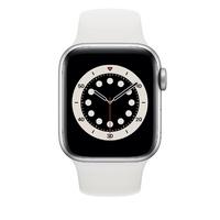 Bild von Apple Watch Series 6 GPS 40 mm Aluminiumgehäuse silber, Sportarmband weiß
