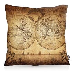 Kissenbezug, VOID, Weltkarte anno 1730 Outdoor Indoor globus erde antik weltbild karte 50 cm x 50 cm