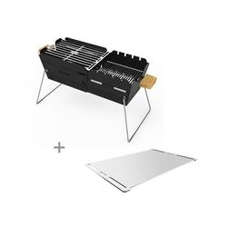 KNISTER Holzkohlegrill Plancha-Set - ORIGINAL Grill + Plancha Platte aus Edelstahl