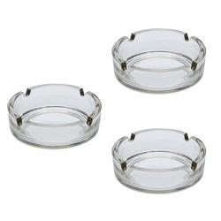 Levandeo® Aschenbecher, 3er Set Aschenbecher 11x3,5cm Glas klar Gastronomie Zigarette Zigarre Raucher