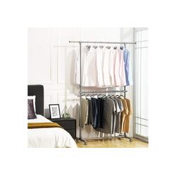 SONGMICS Kleiderständer LLR401, Garderobenständer, zusätzliche Stange, grau