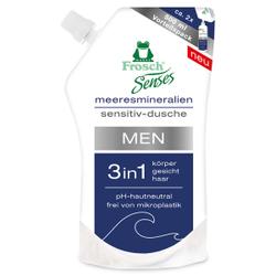 Frosch Senses MEN 3in1 Sensitiv-Dusche Duschgel, Besonders hautschonende Duschpflege, 500 ml - Beutel, Meeresmineralien