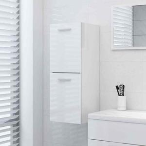 vidaXL Badezimmerschrank Hochglanz-Weiß 30x30x80cm Midischrank Badschrank