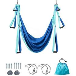COSTWAY Hängematte Yoga Schaukel Air Fliegen Hängematte Set, mit Montagezubehör blau
