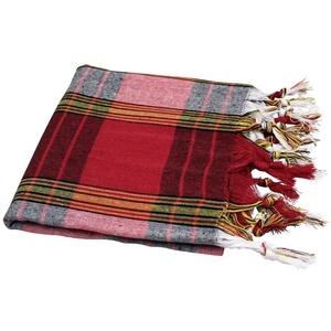 My Hamam, Hamamtuch Handtuch rot/schwarz/weiß mit Fransen, Classic Karomuster ca. 80x180 cm - Saunatuch