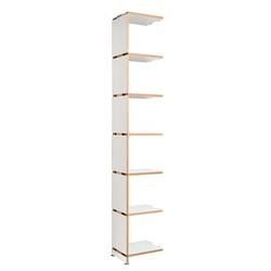 Anbauregal Mocoba Premium Mocoba weiß, Designer Klaus Kiefer, 218x35x32 cm