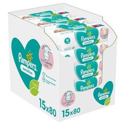Pampers Sensitive Feuchttücher 15 Packungen = 1200 Feuchttücher