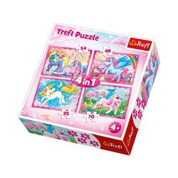 Trefl Puzzle 4in1 Puzzle 35/48/54/70 Teile - Unicorns, Puzzleteile